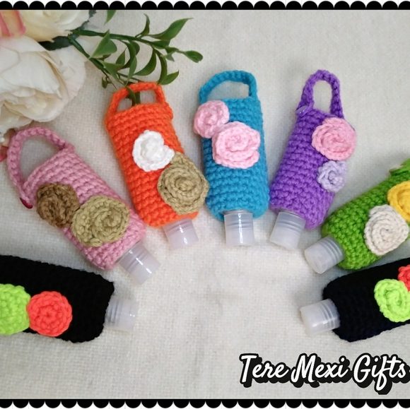 Amigurumi Hand Sanitizer Holder. Crochet Bag Charm